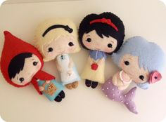 Felt fairy tale dolls including Little Red Riding Hood, Alice in Wonderland, Snow White, and a mermaid. Pdf patterns available by Shelly on Luulla.