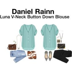 Daniel Rainn Luna V-Neck Button Down Blouse