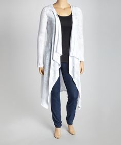 Take a look at this White Burnout Open Cardigan - Plus by CANARI: Plus-Size on zulily today!