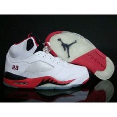 Wonderful Nike Retro Air Jordan 5 Men White/Fire Red-Black 1001 For $58.60 Go To: http://www.airmaxshoxvip.com