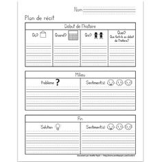 Fichier PDF téléchargeable En noir et blanc 1 page Plan de récit pour la création d'une histoire: Début (où,quand,qui et quoi); milieu (problème et sentiments) et la fin (solution et sentiments). French Teaching Resources, Teaching French, Speech Therapy Activities, Writing Activities, Book Review Template, French Education, Core French, French Grammar, Teachers Corner