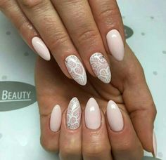 Pink lace wedding nails