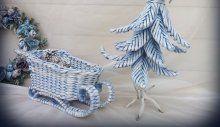 Плетеные новогодние сани. Мастерская HM - хенд мейд магазин Київ