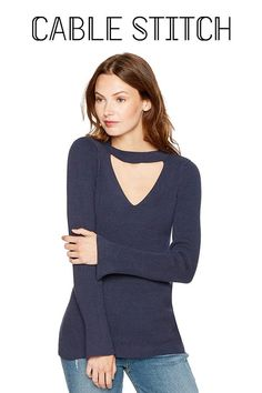 e2801d6d7d Amazon.com  Cable Stitch Women s Fine Gauge Choker Sweater  Clothing