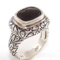 SeidenGang Sterling Silver Smoky Topaz Etched Leaf Band Ring Size 7 - http://elegant.designerjewelrygalleria.com/seidengang/seidengang-sterling-silver-smoky-topaz-etched-leaf-band-ring-size-7/