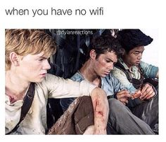 Gladers demonstrate how you feel without wifi - Maze Runner humor