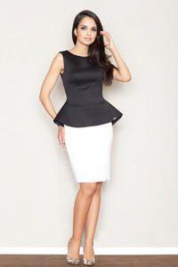 White Flecked Pencil Skirt with Hem Emblem