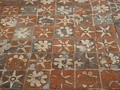Medieval floor tiles, Winchester Cathedral, Winchester, Hampshire - Painted canvas floor pattern?