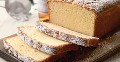 A dense, moist vanilla pound cake, with a fine crumb