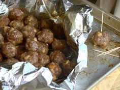 Breakfast Meatballs - Made with 4 pancakes cubed, 2 lbs sausage, 1/4 cup maple syrup &1 egg -form into balls and bake at 375 degrees for 22-25 minutes