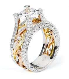 18k Tri-Color Twist Band Diamond Engagement Ring #38755