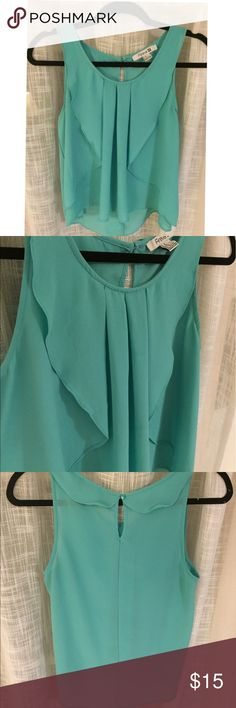 Aqua Ruffle Tank Top Aqua tank from Forever 21, Size M. 100% polyester, hand wash only. Fun tank with front ruffles, comfortable and breathable! Lightly worn, great condition! Forever 21 Tops Tank Tops