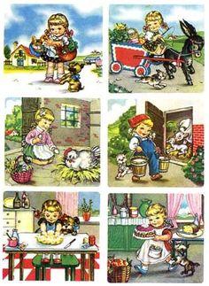 Al mattino Mariarosa al mercato se ne va. Cose buone compra a iosa pel pranzetto. In the morning Mariarosa leaves the market. Good things buy in iosa pel pranzetto that will do: appetizers, fruit, w Retro Advertising, Vintage Advertisements, Vintage Cards, Vintage Images, Poster Vintage, Retro Vintage, Nostalgia, Holly Hobbie, Graphic Design Illustration
