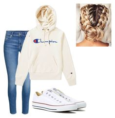 """Untitled #17"" by my-outfit-inspiration ❤ liked on Polyvore featuring H&M, Champion and Converse"