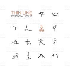Yoga Poses - Thin Single Line Icons Set royalty-free stock vector art