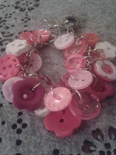 Pretty in pink girls button bracelet by LeLusPrettyThings on Etsy, $20.00 Button Bracelet, Bracelets, Jewelry Party, Pink Girl, Pretty In Pink, Jewelry Design, Pearl Earrings, Girls, Etsy