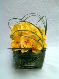 24 Roses Spiral in Square Ceramic Valentine's Day Arrangement
