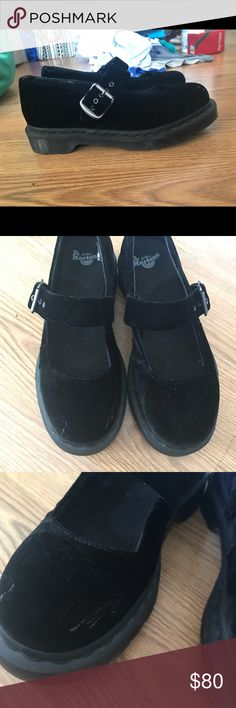 Black suede doc martens Mary Jane Used twice  Only one scuff mark see picture  Super clean insoles and soles  Super rare  They are black suede  I'm still in love with them but my feet got so chubby 😿 Size is 7us  38 eu 5uk doc martens Shoes Platforms