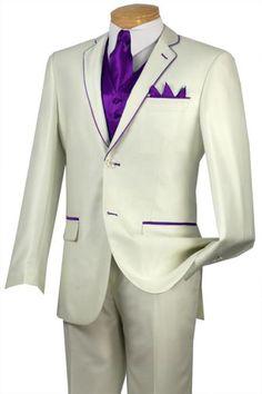 SKU#EDD8 Tuxedo Purple Trim Microfiber Two Button Notch 5-Piece Choice of Solid White or Ivory $585 Tuxedos / Formalwear White/Off White Tuxedos