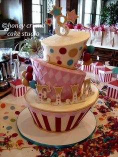 circus birthday cake   Honey Crumb Cake Studio: Ella's Wonky Circus Cake