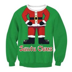 Santa Claus Print Ugly Christmas Loose Women Sweatshirt Hoodie Top