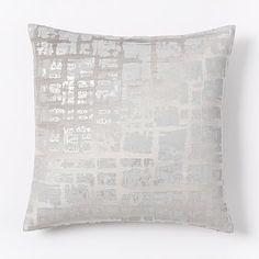 Cotton Luster Velvet Metallic Blocks Pillow Cover - Platinum #westelm
