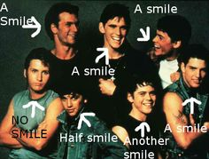 SO I was looking at the cover of my copy of the outsiders and I noticed something. Darry, Dally, Soda,Steve,Pony AND Johnny are all smiling. Why isn't he smiling? The Outsiders Two Bit, The Outsiders Quotes, The Outsiders Imagines, The Outsiders 1983, 80s Movies, Good Movies, Book Tv, The Book, The Outsiders Greasers