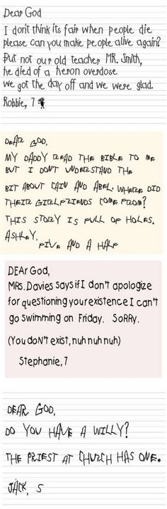 Kids say the funniest things. Kids were asked what they would say in a letter to God.