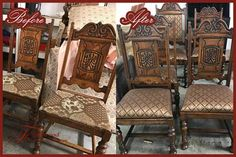 Antique chairs before and after reupholstry. Gallery of the excellent furniture refinishing reupholstering and other furniture repairs that Foxwood ... & Another great before and after from Foxwood Furniture. These antique ...