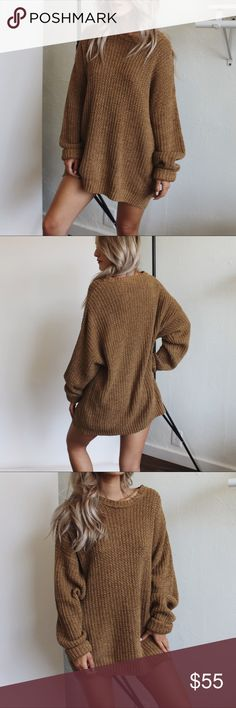 """Oversized Chunky Knit Sweater Tan super comfy oversized chunky knit vintage sweater. Model is a small for size reference. If you would like to be notified of new arrivals (items sell quick) be sure to add yourself to my """"Updates List"""". You can find me on Instagram @theanalyssa feel free to contact me with any questions xx Sweaters Crew & Scoop Necks"""