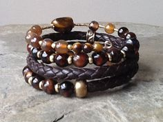 Коричневый Агатовые, Tigereye ж темно-коричневый кожаный браслет обруча памяти