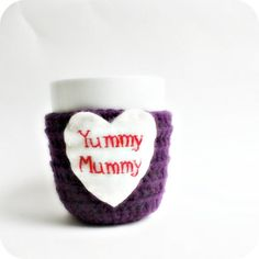Mother's Day Yummy Mummy Coffee Mug Tea Cup Cozy purple red crochet funny on Etsy, $17.78 CAD
