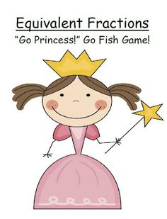 "FREE ""Go Princess!"" Equivalent Fractions Go Fish Card Game - This GO PRINCESS! Go Fish Card Game focuses on Equivalent Fractions. Explains why a fraction is equivalent to another fraction. Description: * 10 PAGES of a Royalty Themed ""Go Princess"" printable center games! * Everything also comes in Black and White if you want to save on color printer ink! Answer key included."