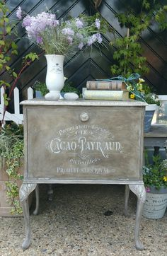 Painted shabby chic cabinet in AS old white with a custom wax mixed from AS dark wax and Graphite and stencil detailing, by Imperfectly Perfect xx