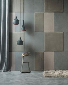 The Mix & Match leather panels create modular walls with surprising and elegant geometries. - I moduli di pelle Mix&Match creano pareti modulari dalle geometrie sorprendenti ed eleganti. Wall Texture Design, Wall Panel Design, Wall Tiles Design, Leather Wall Panels, Upholstered Wall Panels, Interior Design Videos, Accent Wall Designs, Feature Wall Bedroom, Decorative Wall Tiles