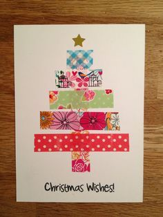 handmade Christmas card … clean and simple … bright washi tape stripes form … – Christmas DIY Holiday Cards Christmas Card Crafts, Homemade Christmas Cards, Christmas Wishes, Homemade Cards, Handmade Christmas, Christmas Fun, Holiday Cards, Christmas Decorations, Snowman Crafts