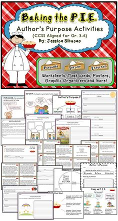 Author's Purpose: this packet will help your students practice determining the purpose of the author: PIE= Persuade, Inform and Entertain. The activities are meant to be additional and should be used once your students have been presented to author's purpose.