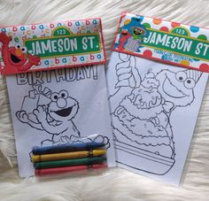 Sesame street Mini Favor Bag with coloring pages and crayons- Sesame Street Birthday- Elmo- Cookie Monster Lion King Birthday, Elmo Birthday, Elmo Party Favors, Sesame Street Coloring Pages, Elmo Cookies, Elmo And Cookie Monster, Sesame Street Birthday, Personalized Favors, Card Stock