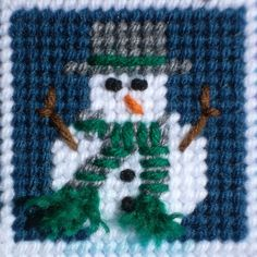 Plastic Canvas - Winter Sampler, snowman closeup (e-PatternsCentral.com pattern)