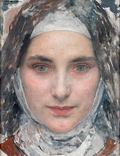 Sainte Therese de Lisieux, 1931 // by Edgar Maxence - Woman Painting, Figure Painting, Painting Art, Sainte Therese De Lisieux, Art Gallery, Celtic, Christian Art, Religious Art, Portrait Art