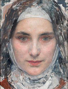 Tte de jeune fille (1932) Edgar Maxence (1871-1954), was a French Symbolist painter.