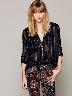 Free People Shine On Lurex Stripe Blouse, $128.00