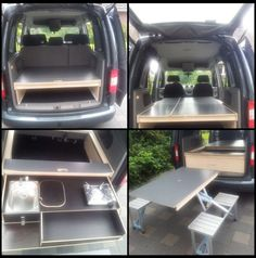 VW Caddy / Camping / Bed / (optional table / kitchen for an extra charge) - VW Caddy / Camping / Bed / (optional table / kitchen for an extra charge) - Auto Camping, Minivan Camping, Truck Camping, Camping Hacks, Pickup Camping, Volkswagen Caddy, Vw Touran, Vw Caddy Maxi, Mini Camper