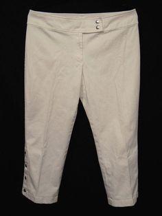 1e251775c7cc Michael Kors Womens Size 14 White Capri Crop Pants Trouser Chino Straight  Leg #MichaelKors #