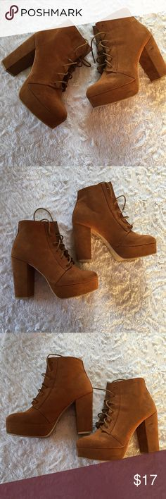H&M • Lace-Up Platform Heel Bootie Divided by H&M • Lace Up Platform Booties! Love these! But they don't get a lot of wear anymore. Some scuffing on front and heel. Check out the pics  (Probably Removable) #SLAY  H&M Shoes Ankle Boots & Booties