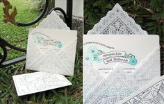 """DIY """"lace"""" envelopes using paper doilies, such a great idea Doily Invitations, Wedding Invitation Envelopes, Wedding Stationary, Invites, Paper Doilies, Paper Lace, Doily Wedding, Papier Diy, Wedding Stationery"""