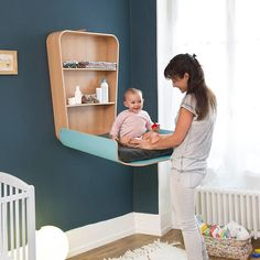 Create a baby corner in a small space - # baby in the bedroom . Create a baby corner in a small sp Scandinavian Nursery Furniture, Modern Baby Furniture, Kids Furniture, Furniture Stores, Furniture Design, Baby Changing Station, Baby Changing Table, Baby Bedroom, Kid Furniture