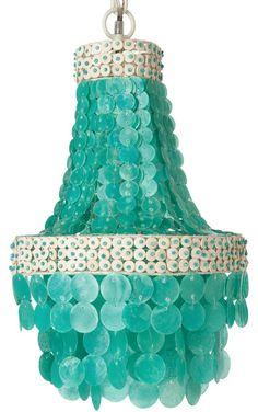 Manor Turquoise Capiz Seashell Chandelier