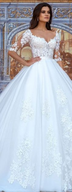 crystal design 2017 bridal half sleeves sweetheart neckline heavily embellished bodice princess wedding dress ball gown royal train (eleonor) mv -- Beautiful Wedding Dresses from the 2017 Crystal Design Collection Wedding Gown Ballgown, Wedding Dress Organza, Princess Wedding Dresses, Dream Wedding Dresses, Bridal Dresses, Wedding Gowns, Tulle Wedding, Ball Gown Wedding, Romantic Princess