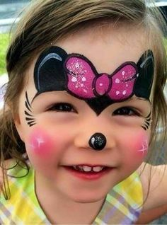 Simple face painting designs are not hard. Many people think that in order to have a great face painting creation, they have to use complex designs, rather then Minnie Mouse Face Painting, Disney Face Painting, Girl Face Painting, Body Painting, Mini Mouse Face Paint, Simple Face Painting, Face Paintings, Mouse Paint, The Face
